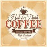 Rocznika kawowy plakat z grunge skutkami Zdjęcia Royalty Free