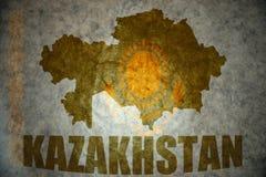 Rocznika Kazakhstan flaga Zdjęcia Royalty Free