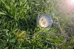 Rocznika kieszeniowy zegarek w męskiej ręce na tle zielona trawa Steampunk zegarek dzie? sunny lato Zegarowy mechanizm jest obraz royalty free