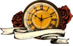 Rocznika kieszeniowy zegarek z wzorem w różach royalty ilustracja