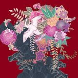 Rocznika kimonowy kwiecisty motyw Obraz Stock