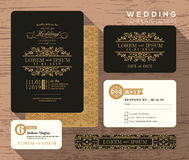 Rocznika klasycznego ślubnego zaproszenia projekta ustalony szablon Obrazy Royalty Free