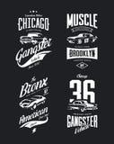 Rocznika klasyczny gangster, mięsień koszula samochodowy wektorowy logo odizolowywał set ilustracji