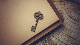Rocznika klucz Na Brown książce obrazy stock