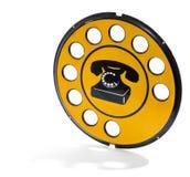Rocznika koloru żółtego telefonu znak Fotografia Stock
