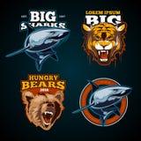 Rocznika koloru zwierzęce wektorowe etykietki, odznaki, emblemat, logo, insygnia, znak, tożsamość, logotyp dla sport drużyny plak Zdjęcia Royalty Free