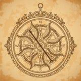 Rocznika kompas na starzejącym się papierowym tle Zdjęcie Royalty Free