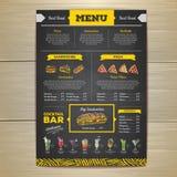 Rocznika kredowego rysunku fasta food menu projekt Obrazy Stock