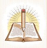Rocznika ksi??kowy i o??wkowy literatura biblioteczny wektorowy logo edukacji lub nauki wiedzy poj?cia, royalty ilustracja