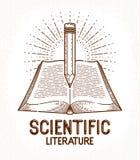Rocznika ksi??kowy i o??wkowy literatura biblioteczny wektorowy logo edukacji lub nauki wiedzy poj?cia, ilustracja wektor