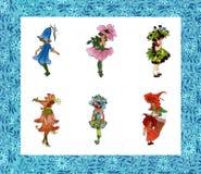 Rocznika kwiatu dziewczyny kolekcja w ramie Zdjęcia Stock