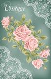 Rocznika kwiatu karta z różami royalty ilustracja