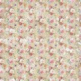 Rocznika kwiatu papieru antykwarski podławy tło, bezszwowa powtórka wzoru tekstura Obrazy Royalty Free