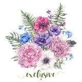 Rocznika kwiecisty kartka z pozdrowieniami z anemonami ilustracja wektor