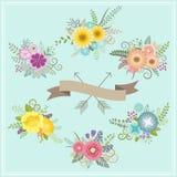 Rocznika kwiecisty set dla decoration_1 Zdjęcie Royalty Free