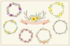 Rocznika kwiecisty set dla dekoraci Zdjęcie Royalty Free