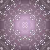 Rocznika kwiecisty wektorowy bezszwowy wz?r Ornamentacyjny różowy tło z srebnym renaissance kwitnie, liście, zawijasy, linie, kro royalty ilustracja