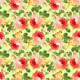Rocznika kwiecisty wzór z czerwonymi różami Obrazy Royalty Free