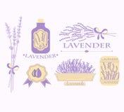 Rocznika lawendowy tło, aromatherapy i zdrój, royalty ilustracja