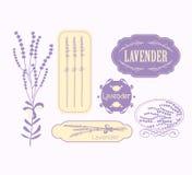 Rocznika lawendowy tło, aromatherapy i zdrój, Ilustracja Wektor