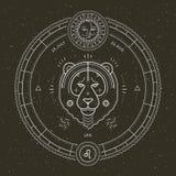 Rocznika Leo zodiaka znaka cienka kreskowa etykietka Retro wektorowy astrologiczny symbol, mistyczka, święty geometria element, e ilustracji