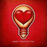 Rocznika lightbulb - serce. Zdjęcia Royalty Free