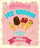 Rocznika lody plakatowy projekt Zdjęcie Stock