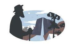 Rocznika loga starsza osoba i góra krajobraz royalty ilustracja