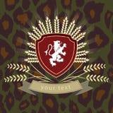 Rocznika logo lew na osłonie Zdjęcie Stock