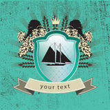 Rocznika logo statek na osłonie ilustracji