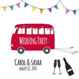 Rocznika ślubny autobus Obrazy Royalty Free