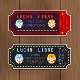 Rocznika Lucha Libre wektorowi bilety z meksykaninem Zdjęcie Stock