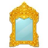 Rocznika lustro z złotą ozdobną florid ramą odizolowywającą na białym tle Wektorowa kreskówki zakończenia ilustracja royalty ilustracja