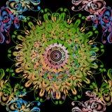 Rocznika mandala kwiecisty Barokowy wektorowy bezszwowy wzór Ornamentacyjny tło z elegancja kolorowymi kwiatami, ślimacznica opus ilustracja wektor
