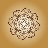Rocznika mandala wektorowy druk Ręka rysujący abstrakt płytki retro brown kolor Dekoracyjny retro sztandar Tapeta dla sztandaru ilustracja wektor