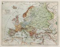 Rocznika mapa Europa przy końcówka xix wiek Obrazy Royalty Free