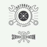 Rocznika mechanika etykietka, emblemat i logo, Fotografia Stock