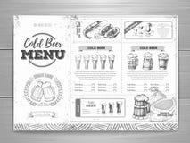 Rocznika menu piwny projekt royalty ilustracja