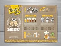 Rocznika menu piwny projekt na kartonie Fotografia Royalty Free