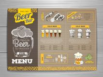 Rocznika menu piwny projekt na kartonie Obraz Stock