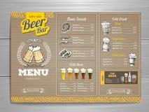 Rocznika menu piwny projekt na kartonie Zdjęcie Stock