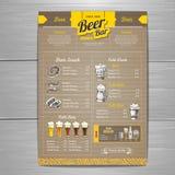Rocznika menu piwny projekt na kartonie Zdjęcia Stock