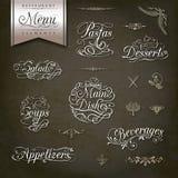 Rocznika menu stylowi restauracyjni projekty Fotografia Royalty Free