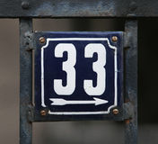 Rocznika metalu domowa liczba na ścianie Zdjęcie Stock