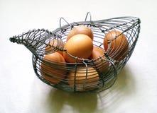 Rocznika metalu jajeczny koszykowy pełny wyprodukowany lokalnie brown jajka obrazy stock