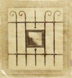 Rocznika metalu sztuki ornamentaci okno sepiowy filtrujący wizerunek Zdjęcia Stock