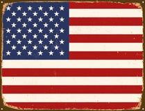 Rocznika metalu znak - Stany Zjednoczone Ameryka flaga Zdjęcia Stock