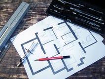 Rocznika miejsce pracy architekt Obrazy Royalty Free