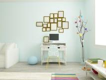 Rocznika miejsce pracy w nowożytnym siedzącym pokoju w białych i błękita kolorach Fotografia Stock