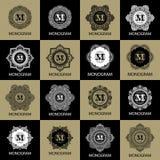 Rocznika monograma ramy szablon royalty ilustracja